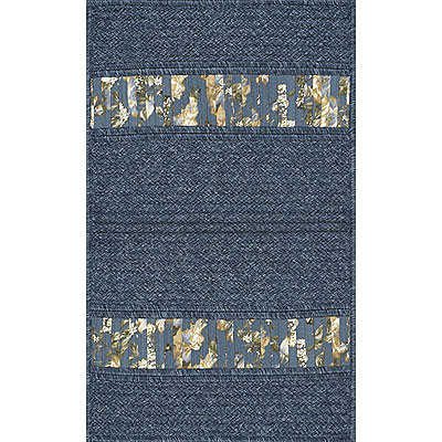 AMS Imports Denim Floral 5 x 7 Denim Floral Blue Ribbon RS68