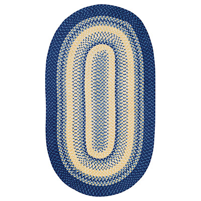 Capel Rugs Cottonside 8 x 11 oval Blue Yellow 0640_400