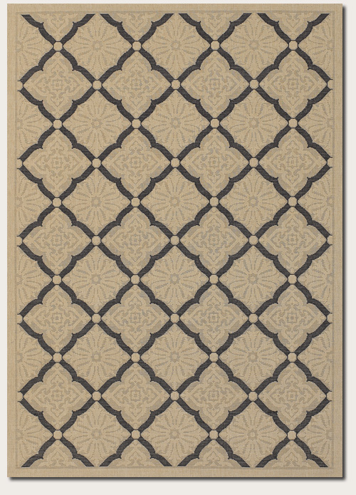 Couristan Five Seasons 9 x 13 Sorrento Cream Black 3077/0016