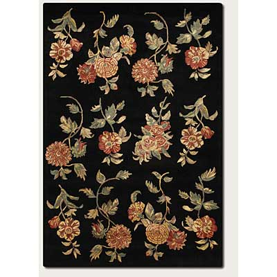 Couristan Givenry 8 x 11 Rose Garden Black 3547/0115