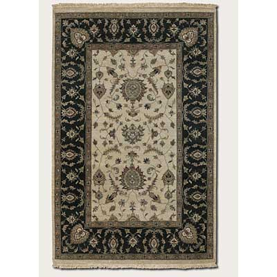 Couristan Jangali 5 x 8 All Over Isfahan Antique Ivory Black 1207/0207