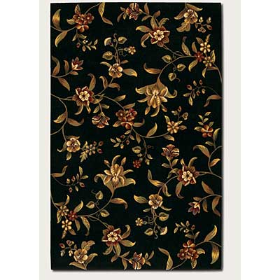 Couristan Lotus Garden 10 x 14 Budding Lily Black 0346/0320