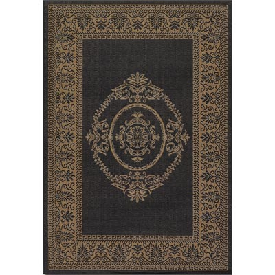 Couristan Recife 7 Square Antique Medallion Black Cocoa 1078/3115