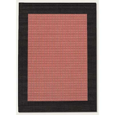 Couristan Recife 8 Round Checkered Field Terra Cotta Black 1005/4000