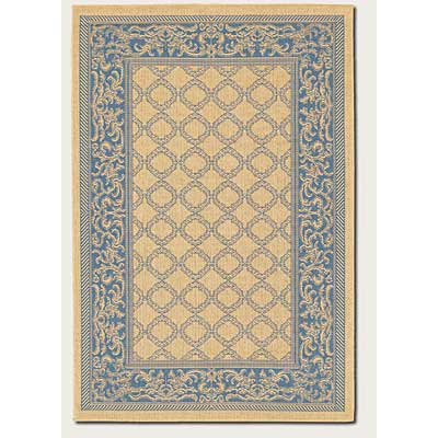 Couristan Recife 8 Round Garden Lattice Natural Blue 1016/5500