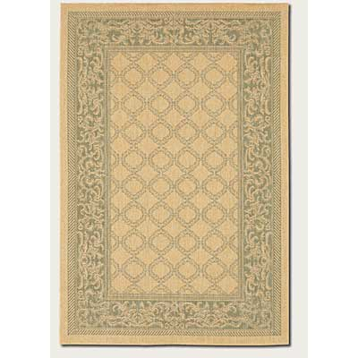 Couristan Recife 8 Round Garden Lattice Natural Green 1016/5016