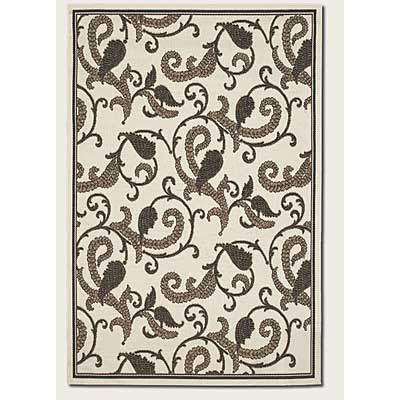 Couristan Recife 2 x 4 Paisley Scroll White Black 1180/7364