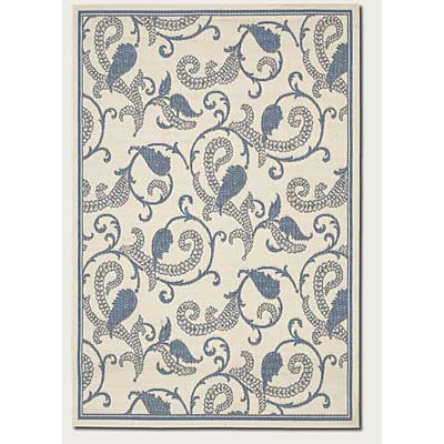 Couristan Recife 2 x 4 Paisley Scroll White Blue 1180/7684