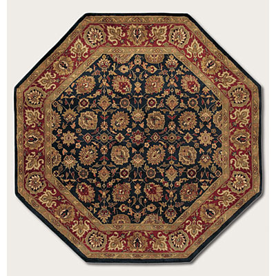 Couristan Shiraz 6 Octagon All Over Floral Midnight Blue 7045/0809