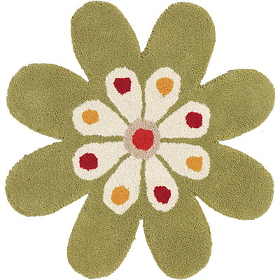Dynamic Rugs Fantasia 3 x 3 Flowers Green 1706-400