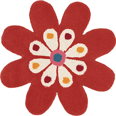 Dynamic Rugs Fantasia 3 x 3 Flowers Orange 1706-030