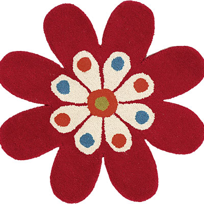Dynamic Rugs Fantasia 3 x 3 Flowers Red 1706-300