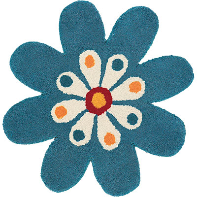 Dynamic Rugs Fantasia 3 x 3 Flowers Turquoise 1706-500