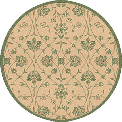 Dynamic Rugs Piazza 5 Round Natural-Green 2744-1E01