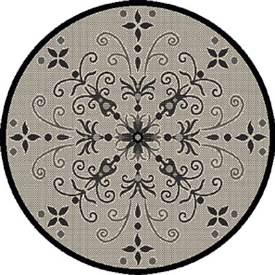Dynamic Rugs Piazza 5 Round Sand Black 2583-3901