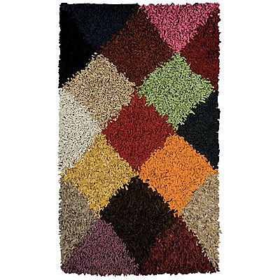 Foreign Accents Jubiliee Leather Shag 5 x 8 (Dropped) Jubilee Multi Colored SLS7202