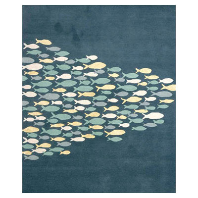 Jaipur Rugs Inc. Coastal Living Hand-Tufted 8 x 11 Schooled Aegean Blue/Aegean Blue CH01