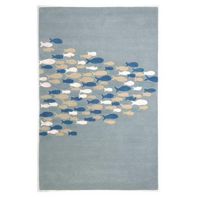 Jaipur Rugs Inc. Coastal Living Hand-Tufted 8 x 11 Schooled Pastel Blue/Pastel Blue CH03