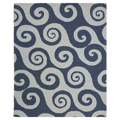 Jaipur Rugs Inc. Coastal Living Indoor-Outdoor 4 x 6 WaveHello Dark Blue/Dark Blue CI04