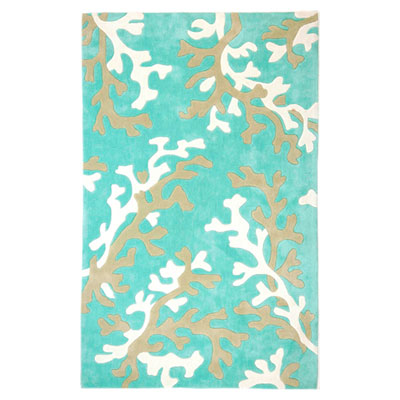 Jaipur Rugs Inc. Fusion 8 x 10 Coral Fixation Turquoise Blue/White FN06
