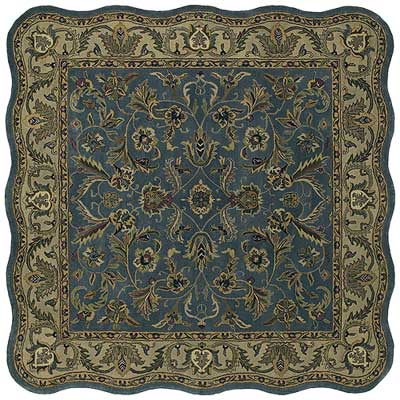 Kaleen Mystical Garden 8 x 8 Scalloped Square Williamsburg Garden Blue 6001-17