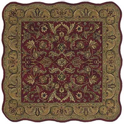 Kaleen Mystical Garden 6 x 6 Scalloped Square Williamsburg Garden Red 6001-25