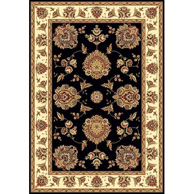 KAS Oriental Rugs. Inc. Cambridge 7 Octagon Black Ivory Floral Mahal 7339