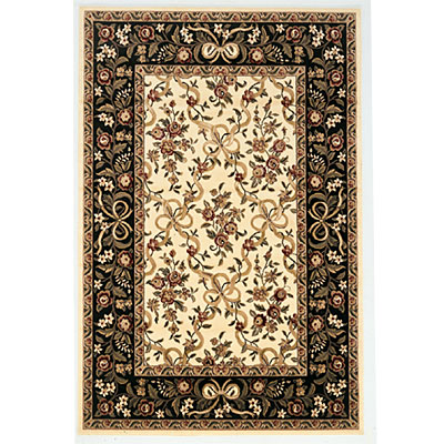 KAS Oriental Rugs. Inc. Cambridge 2 x 2 Cambridge Ivory/Black Floral Ribbons 7310