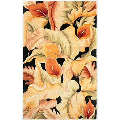 KAS Oriental Rugs. Inc. Catalina Runner 2 x 8 Catalina Black Calla Lillies 759