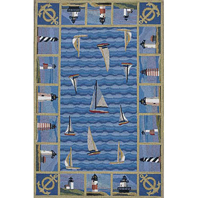 KAS Oriental Rugs. Inc. Colonial 3 x 4 Oval Colonial Blue Lighthouses 1335