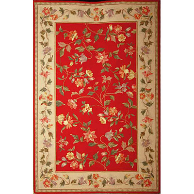 KAS Oriental Rugs. Inc. Colonial 8 x 10 Oval Colonial Crimson/Ivory Floral Vine 1708