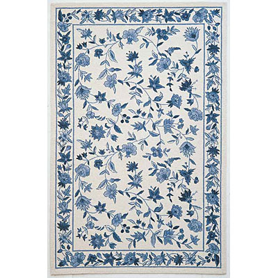 KAS Oriental Rugs. Inc. Colonial 8 x 10 Oval Colonial Ivory/Blue Floral 1727