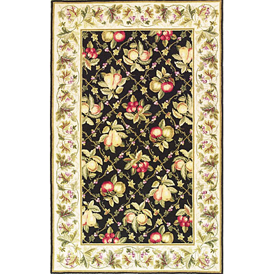 KAS Oriental Rugs. Inc. Colonial 3 x 4 Oval Colonial Black/Ivory Summer Fruits 1749