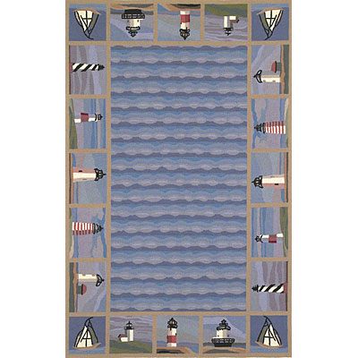 KAS Oriental Rugs. Inc. Colonial 3 x 4 Oval Colonial Blue Lighthouse Waves 1802