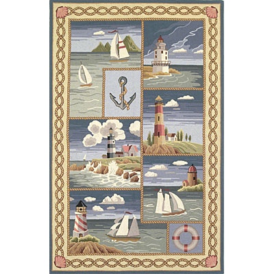 KAS Oriental Rugs. Inc. Colonial 5 x 8 Colonial Blue Coastal Views 1806