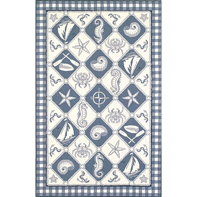 KAS Oriental Rugs. Inc. Colonial 8 x 11 Colonial Blue/Ivory Nautical Panel 1807