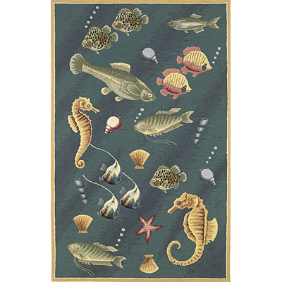 KAS Oriental Rugs. Inc. Colonial 3 x 4 Oval Colonial Blue Deep Sea Dives 1808