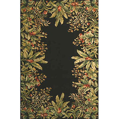 KAS Oriental Rugs. Inc. Emerald 8 Round Emerald Black Tropical Border 9001
