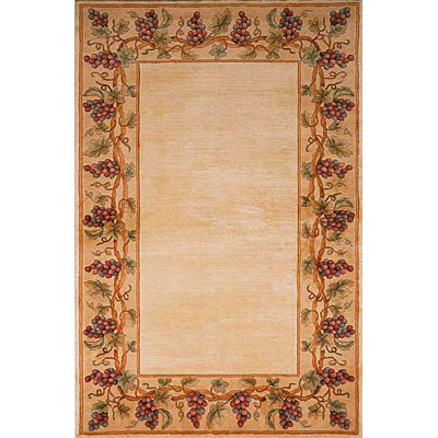 KAS Oriental Rugs. Inc. Emerald 8 Round Emerald Ivory with Grapes Border 9058