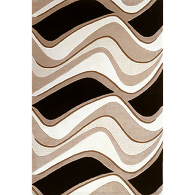 KAS Oriental Rugs. Inc. Eternity 3 x 5 Eternity Black/Beige Waves 1071