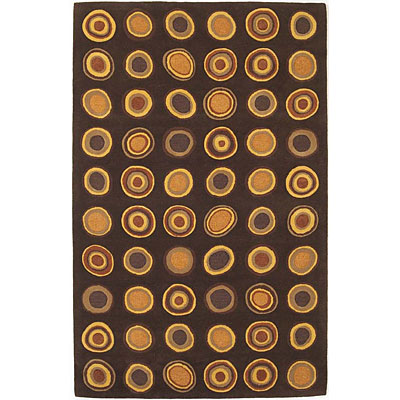 KAS Oriental Rugs. Inc. Eternity 2 x 4 Eternity Mocha Concentric Circles 1079