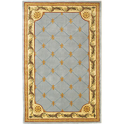 KAS Oriental Rugs. Inc. Jewel Runner 2 x 10 Jewel Wedgewood Blue Fleur-De-Lis 305