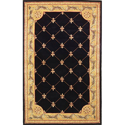 KAS Oriental Rugs. Inc. Jewel Runner 2 x 10 Jewel Black Fleur-De-Lis 307