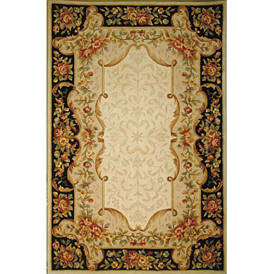 KAS Oriental Rugs. Inc. Jewel Runner 2 x 10 Jewel Ivory/Black Savonnerie 319