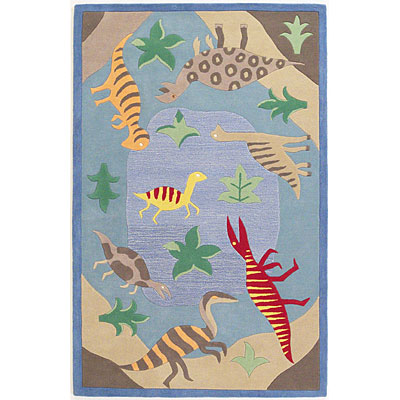 KAS Oriental Rugs. Inc. Kidding Around 3 Round Kidding Around Blue Dinosaur Fun 427