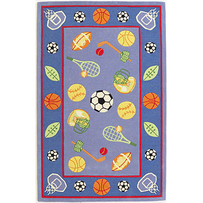 KAS Oriental Rugs. Inc. Kidding Around 5 x 8 Kidding Around Blue/Red Lets Play Ball 429