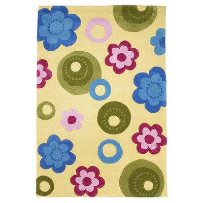 KAS Oriental Rugs. Inc. Kolorful Kidz 8 x 10 Yellow Floral 4107