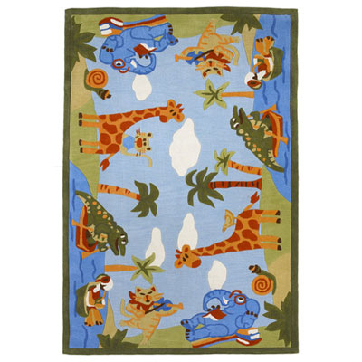 KAS Oriental Rugs. Inc. Kolorful Kidz 8 x 10 Blue Animal Fun 4110