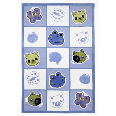 KAS Oriental Rugs. Inc. Kolorful Kidz 8 x 10 Blue Checkerboard Friends 4112