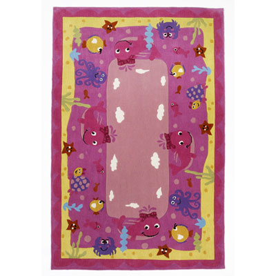 KAS Oriental Rugs. Inc. Kolorful Kidz 8 x 10 Pink Ocean Friends 4117